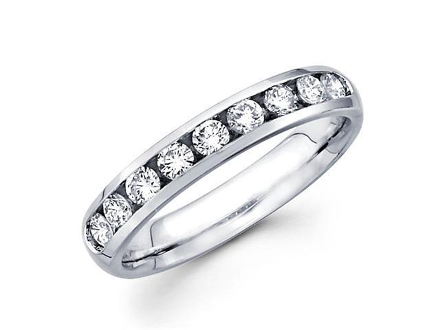 Round Diamond Wedding Band 14k White Gold Anniversary Ring (1/2 Carat)