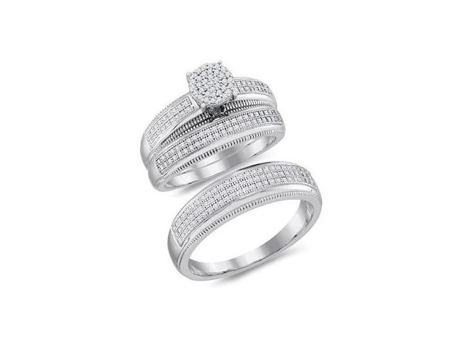 Diamond Engagement Rings Set Wedding White Gold Mens & Women (1/2 CTW)