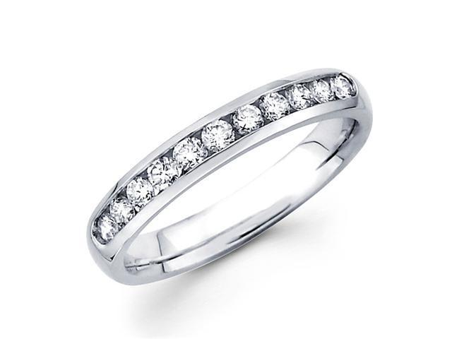 Round Diamond Wedding Ring 14k White Gold Anniversary Band (0.41 CTW)