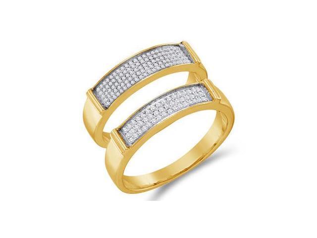 Diamond Wedding Rings Set 10k Yellow Gold Bands Mens & Womens (1/3 CT)