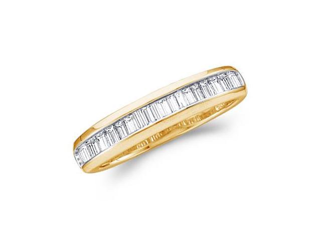 Baguette Diamond Wedding Ring 10k Yellow Gold Anniversary Band (.15ct)