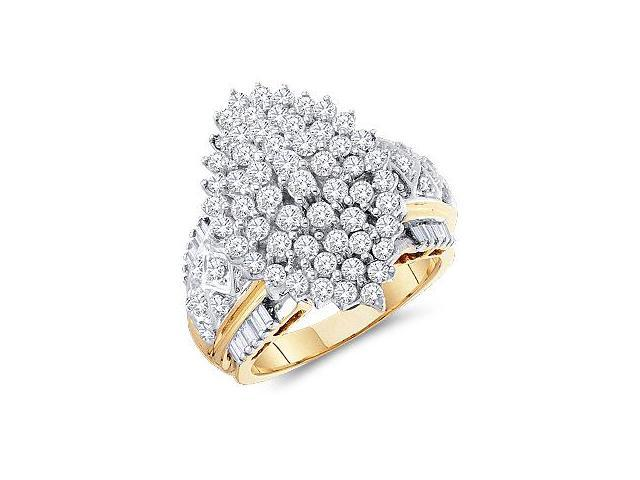 Cluster Diamond Ring 10k Yellow Gold Ladies Anniversary (2.02 Carat)