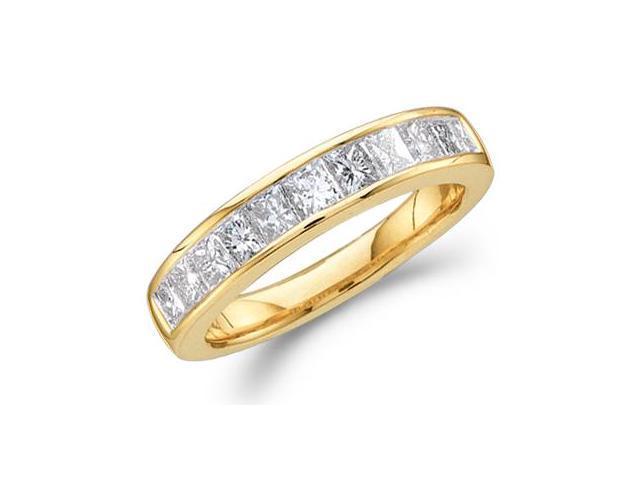 Princess Diamond Wedding Band 14k Yellow Gold Anniversary Ring (1/4ct)