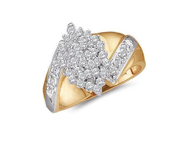 Diamond Ring Cluster 10k Yellow Gold Womens Anniversary (1/2 Carat)