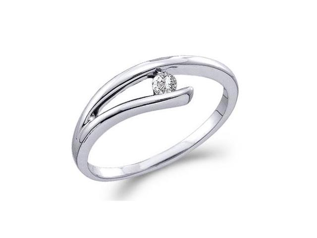Solitaire Diamond Band Anniversary Ring 10k White Gold (0.08 Carat)
