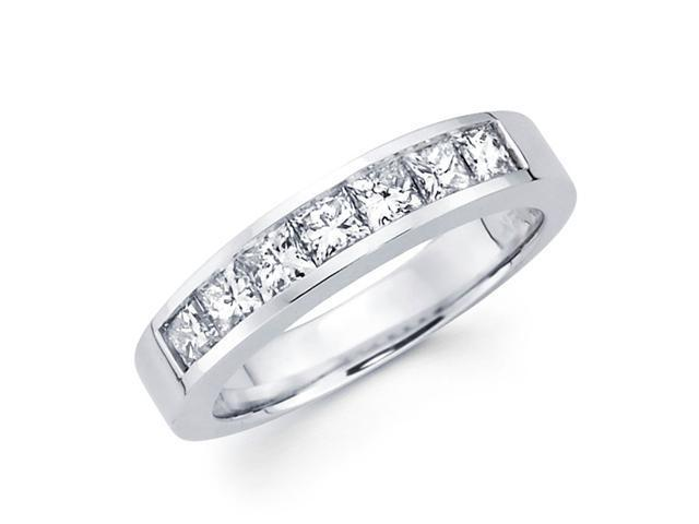 Princess Diamond Wedding Ring 14k White Gold Anniversary Band (0.98ct)