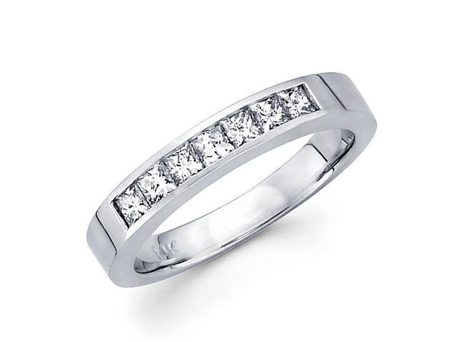 Princess Diamond Wedding Ring 14k White Gold Anniversary Band (1/2 CT)