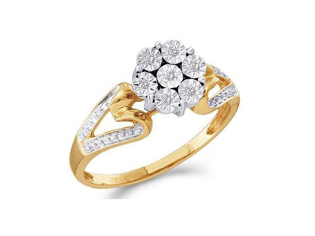 Diamond Ring Cluster Solitaire Setting Engagement 10k Yellow Gold