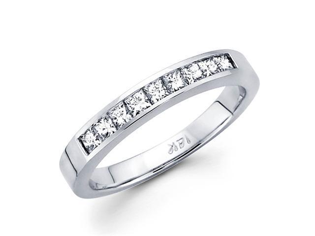 Princess Diamond Wedding Band 14k White Gold Anniversary Ring 1/2 CTW