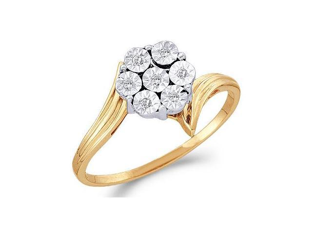 Diamond Ring Solitaire Cluster Setting Engagement 10k Yellow Gold