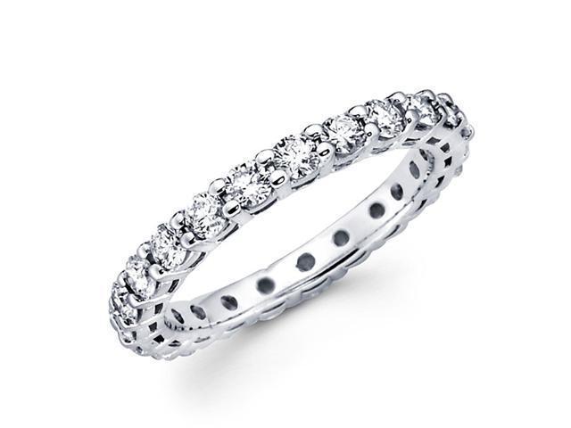 Round Diamond Eternity Ring 14k White Gold Anniversary Band (1.38 CTW)