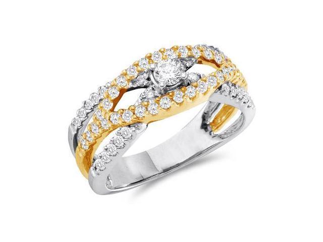 Diamond Anniversary Ring 14k Yellow & White Gold Bridal (3/4 Carat)