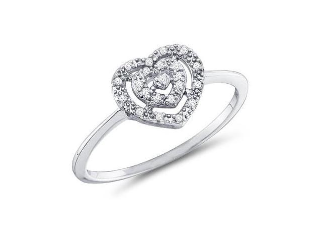 Heart Diamond Ring 10k White Gold Promise Band (0.04 Carat)