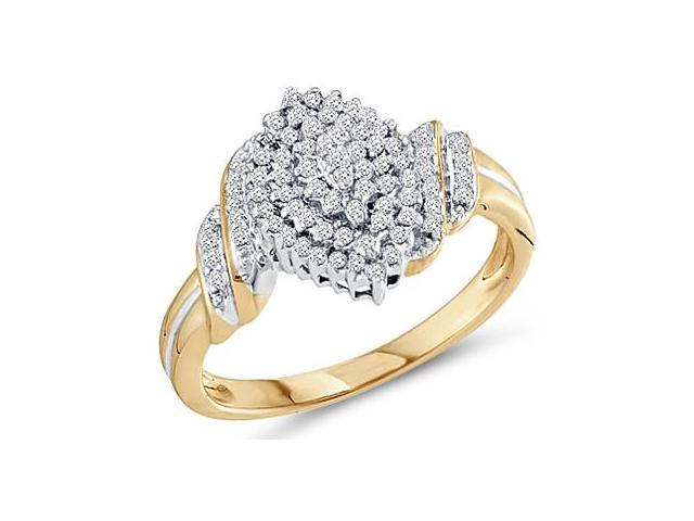 Diamond Cluster Ring 10k Yellow Gold Promise Band (1/4 Carat)