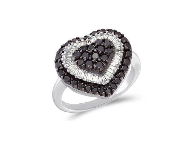 White & Black Diamond Heart Ring 14k White Gold Fashion Band (1.20 CT)