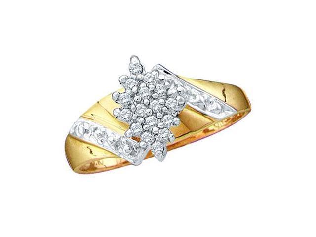 Diamond Cluster Ring 10k Yellow Gold Anniversary (1/10 Carat)