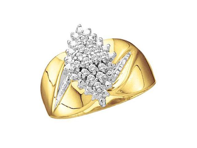 Diamond Cluster Ring 10k Yellow Gold Anniversary (0.15 Carat)