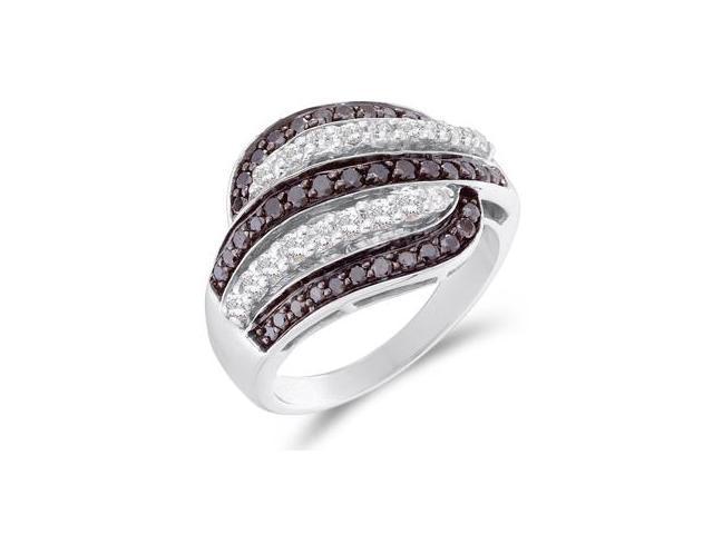 Black & White Diamond Fashion Ring 14k White Gold Band (1.00 Carat)