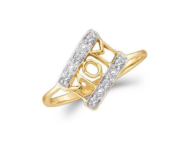 MOM Diamond Ring 14k Yellow Gold Mothers Day Band (0.06 Carat)