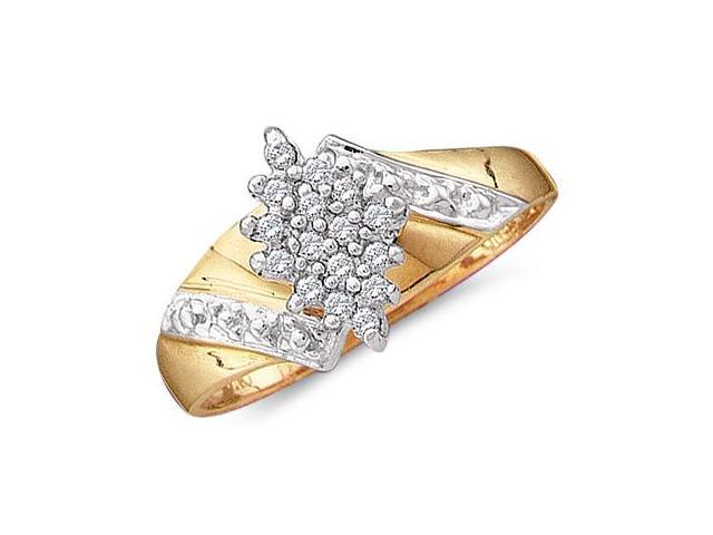 Diamond Cluster Ring 10k Yellow Gold Anniversary (0.12 Carat)