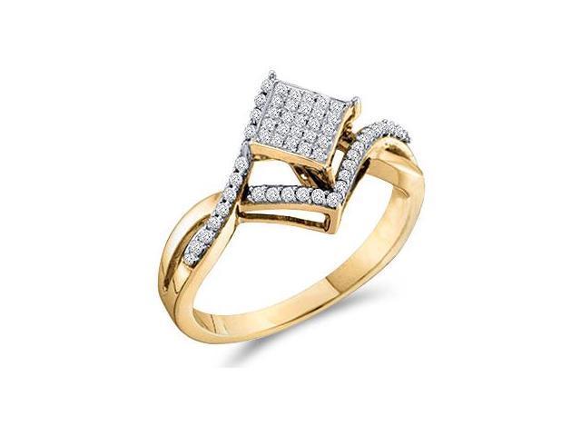 Diamond Ring Anniversary 10k Yellow Gold Micro Pave (1/4 Carat)