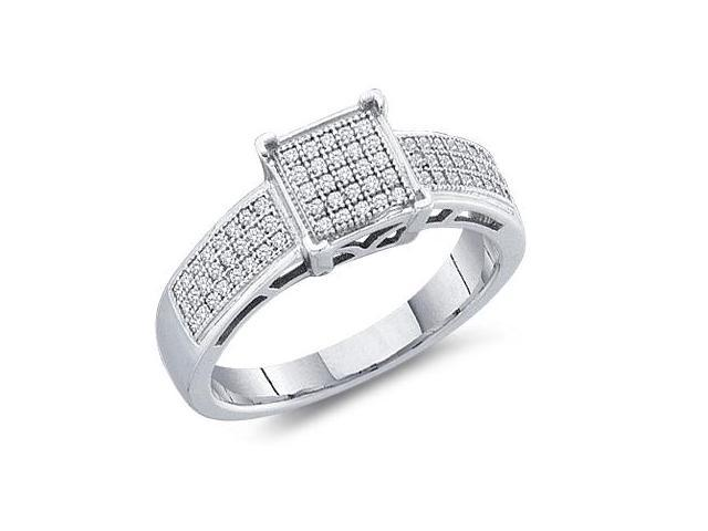 Diamond Engagement Ring Square Micro Pave 10k White Gold (1/5 Carat)