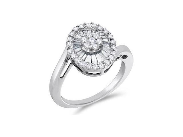 Cluster Diamond Ring 14k White Gold Right Hand Anniversary (0.81 CTW)