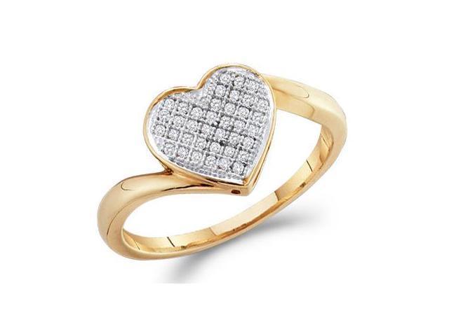 Heart Diamond Ring Anniversary Gift 10k Yellow Gold (0.05 Carat)
