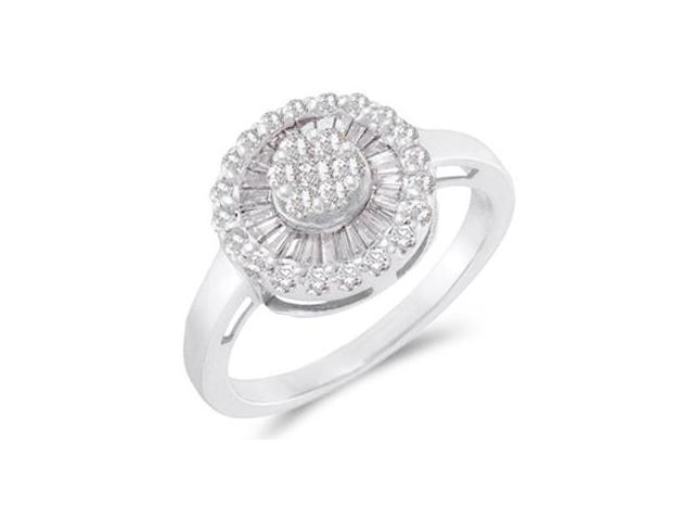 Diamond Ring 14k White Gold Promise Anniversary (2/3 Carat)