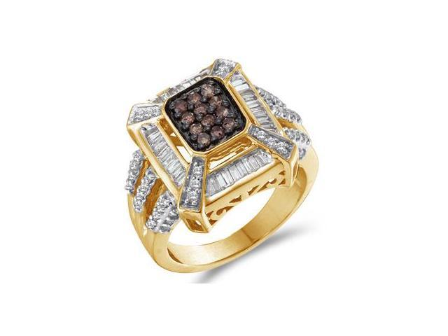 Champagne Brown Diamond Ring 14k Yellow Gold Anniversary (0.88 Carat)