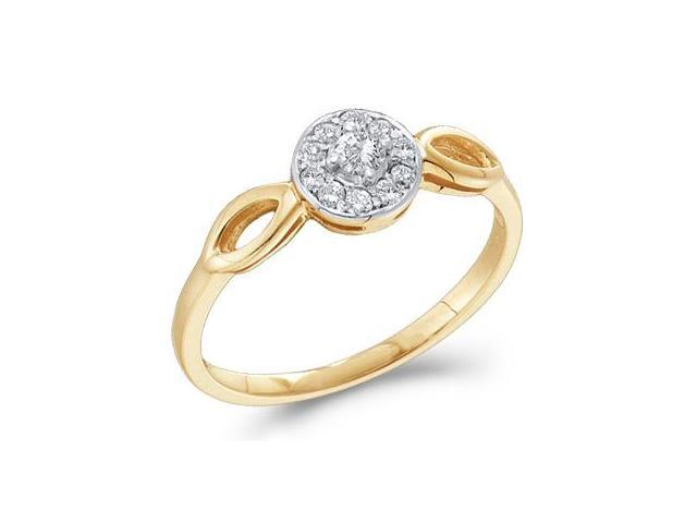 Diamond Ring Solitaire Setting Engagement 10k Yellow Gold (0.12 Carat)