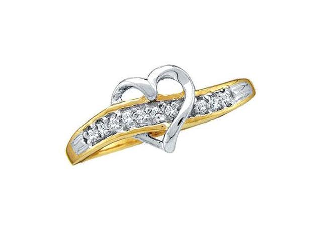 Diamond Heart Ring 10k White Yellow Gold Band (0.05 Carat)
