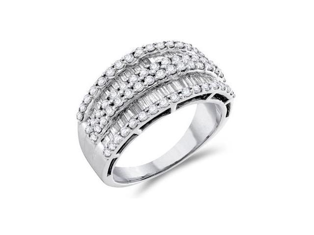 Diamond Ring 14k White Gold Fashion Band Anniversary (1.20 CTW)