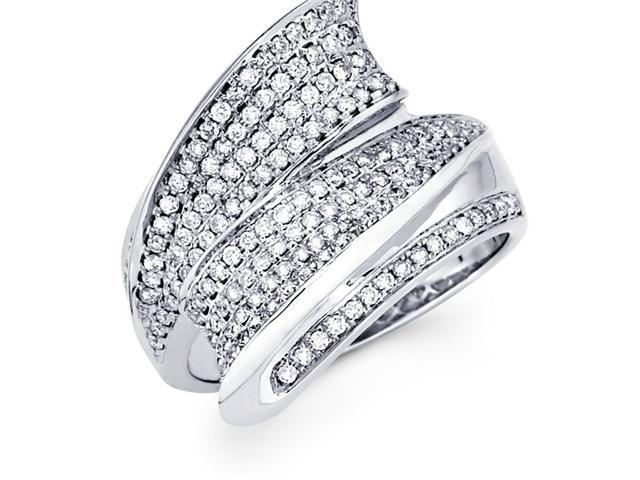 Round Diamond Anniversary Ring 14k White Gold Pave Set (2/3 Carat)