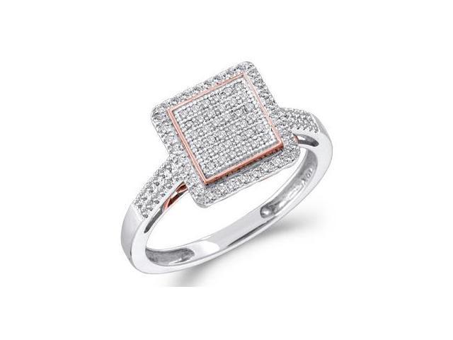 Diamond Ring Square Head 10k White Rose Gold (1/3 Carat)