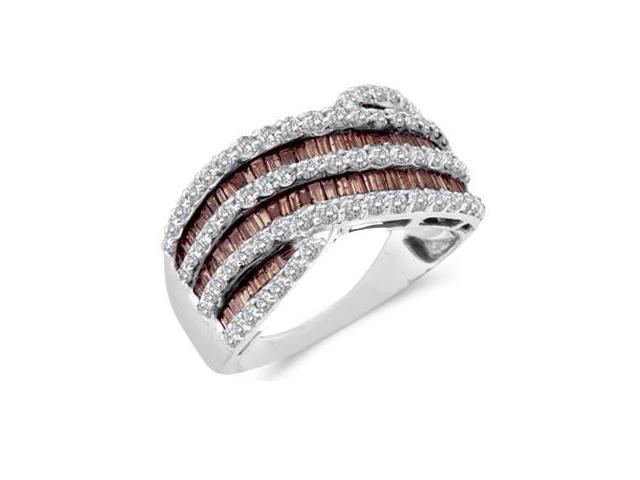 Champagne Brown Diamond Band 14k White Gold Fashion Ring (1.52 Carat)