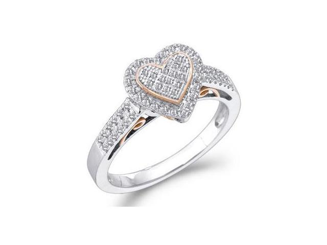 Diamond Heart Ring 10k White Rose Gold (1/3 Carat)