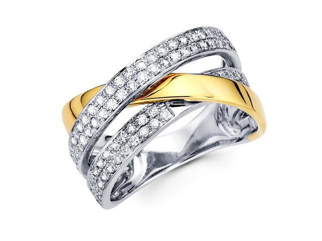 Diamond Anniversary Ring 14k Multi-Tone Gold Fashion Band (1/3 Carat)