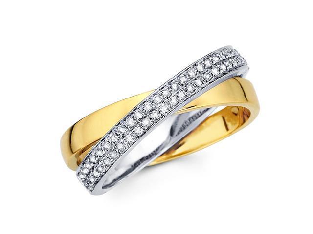 Diamond Anniversary Ring 14k Multi-Tone Gold Fashion Band (1/4 Carat)