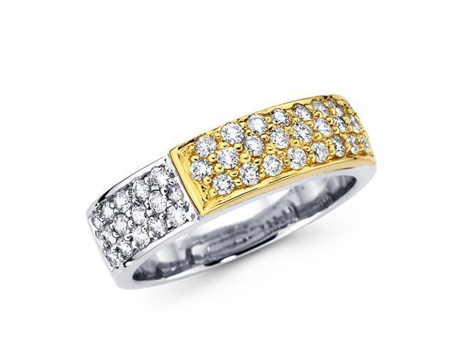 Diamond Anniversary Ring 14k Multi-Tone Gold Wedding Band (2/3 Carat)