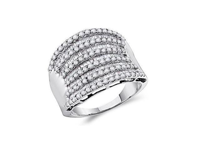 Diamond Ring 14k White Gold Fashion Band Anniversary (1.60 CTW)