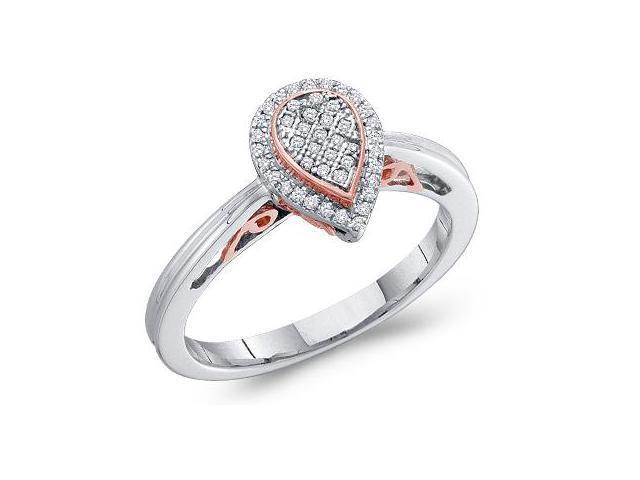 Diamond Ring Pear Shape Setting 14k White Rose Gold (0.12 Carat)