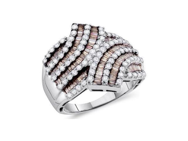 Champagne Brown Diamond Fashion Ring 14k White Gold Band (1.75 Carat)