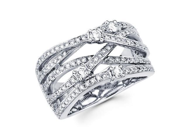 Diamond Anniversary Ring 14k White Gold Multi Line Fashion Band 0.85ct