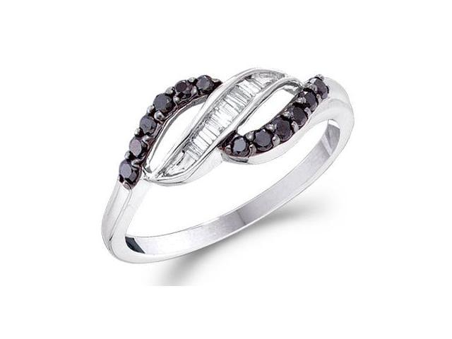 Black Diamond Ring 14k White Gold Anniversary Fashion Band (1/3 Carat)