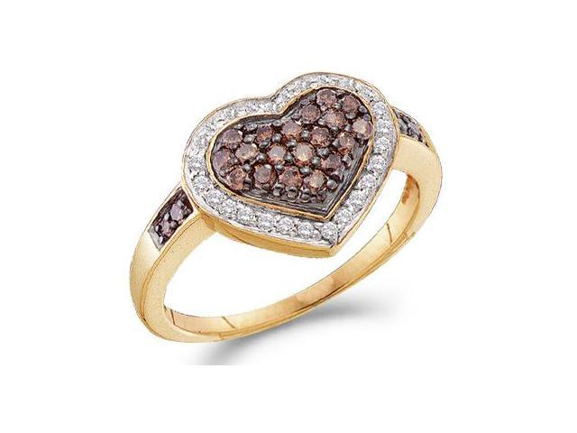 Chocolate Diamond Heart Ring Champagne 14k Yellow Gold (1/2 Carat)