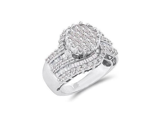 Diamond Cluster Ring 14k White Gold Engagement Anniversary (1.80 CT)