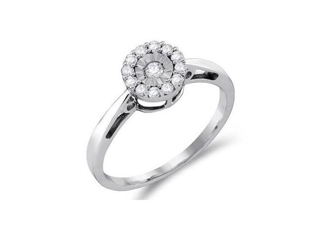 Diamond Anniversary Ring 10k White Gold Bridal (0.15 Carat)