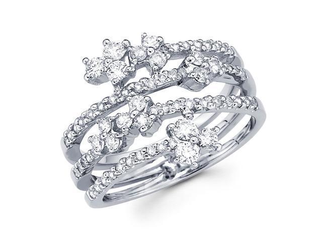 Diamond Anniversary Ring 14k White Gold Multi Line Fashion Band 1/3ct