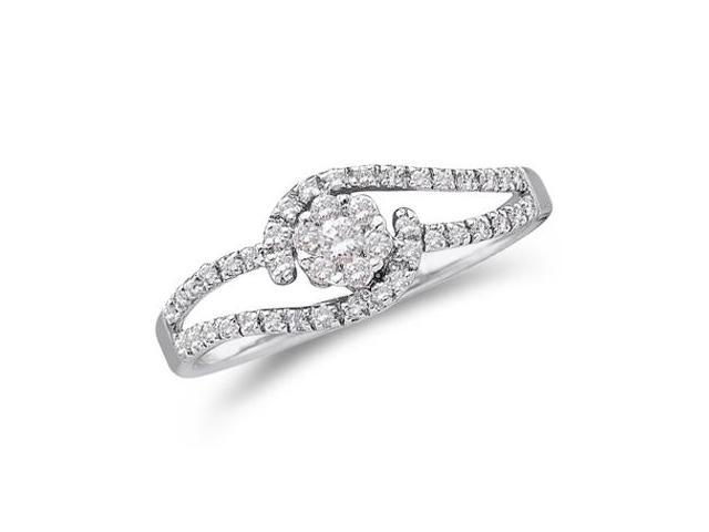 Diamond Engagement Ring 14k White Gold Solitaire Cluster (1/4 Carat)